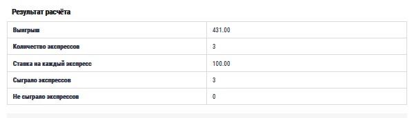 Результаты расчета калькулятора системы