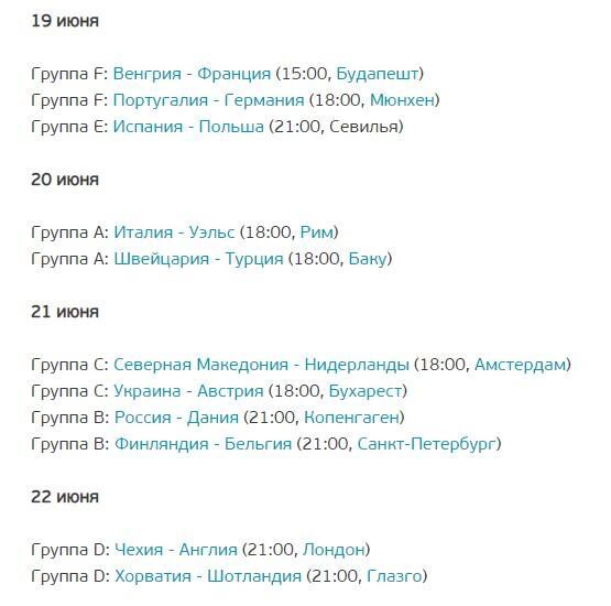 Матчи 19 - 23 июня Евро 2020