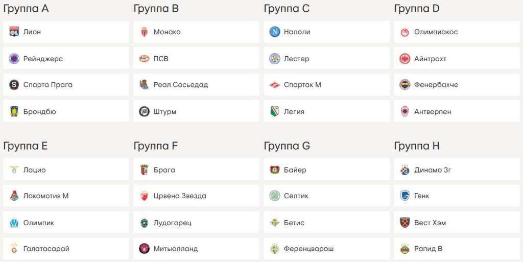 Жеребьевка Лиги Европы 2021 - 2022